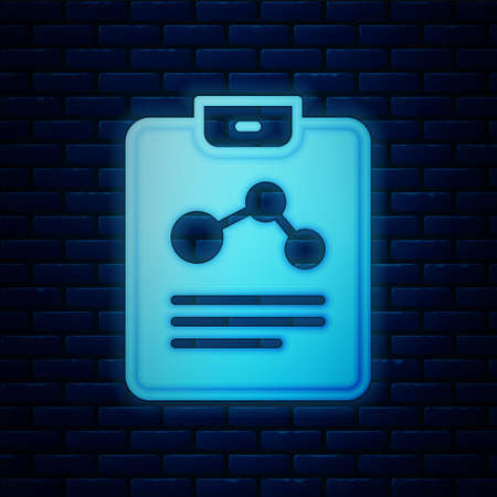 Glowing neon Chemistry report icon isolated on brick wall background. Vector