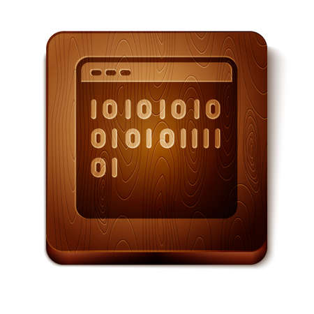 Brown Binary code icon isolated on white background. Wooden square button. Vector