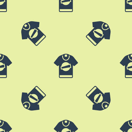 Blue T-shirt icon isolated seamless pattern on yellow background. Vector