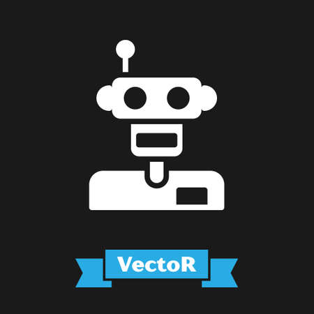 White Robot icon isolated on black background. Vector