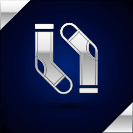 Silver Socks icon isolated on dark blue background. Vector
