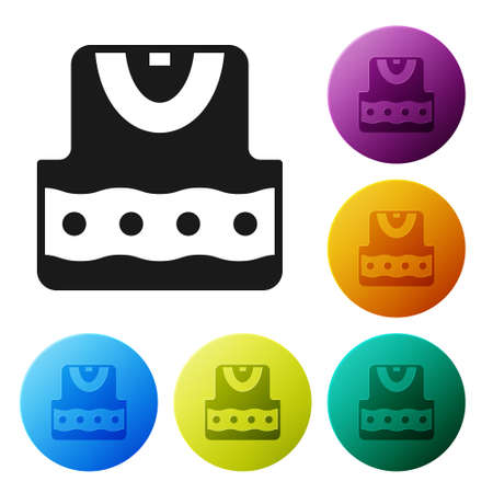 Black Waistcoat icon isolated on white background. Set icons in color circle buttons. Vector Illustration