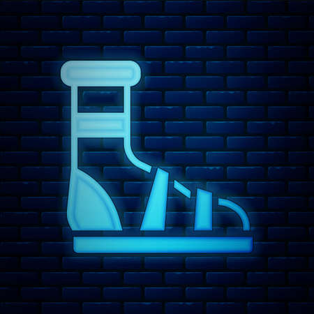 Glowing neon Slippers with socks icon isolated on brick wall background. Beach slippers sign. Flip flops. Vector