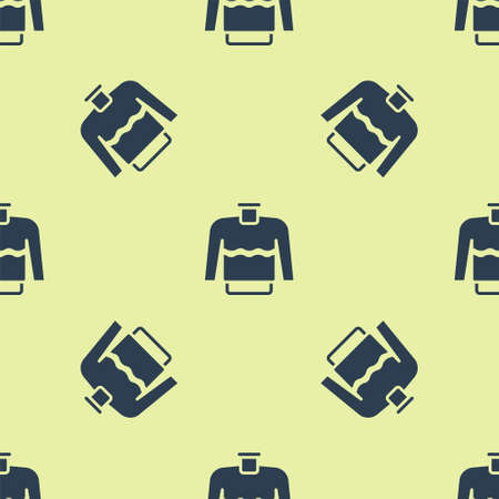 Blue Sweater icon isolated seamless pattern on yellow background. Pullover icon. Vector Illustration