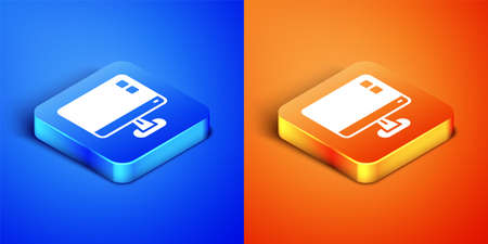 Isometric Computer monitor screen icon isolated on blue and orange background. Electronic device. Front view. Square button. Vector