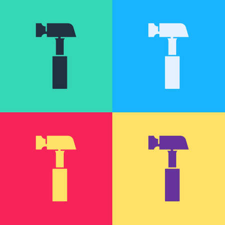 Pop art Hammer icon isolated on color background. Tool for repair. Vector