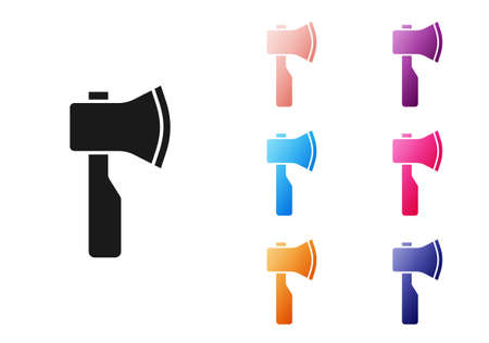 Black Wooden axe icon isolated on white background. Lumberjack axe. Set icons colorful. Vector
