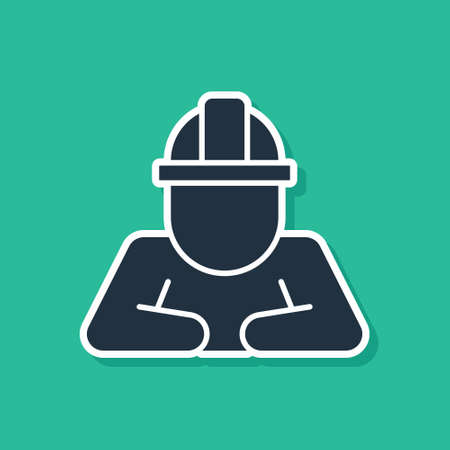 Blue Builder icon isolated on green background. Construction worker. Vector