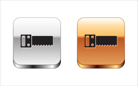 Black Hand saw icon isolated on white background. Silver-gold square button. Vector Illustration