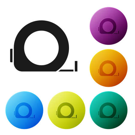 Black Roulette construction icon isolated on white background. Tape measure symbol. Set icons in color circle buttons. Vector