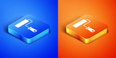 Isometric Paint roller brush icon isolated on blue and orange background. Square button. Vector