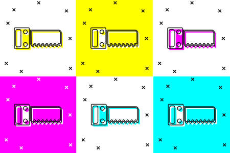 Set Hand saw icon isolated on color background. Vector