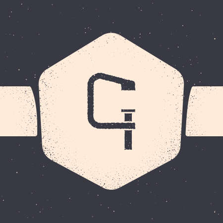 Grunge Clamp and screw tool icon isolated on grey background. Locksmith tool. Monochrome vintage drawing. Vector