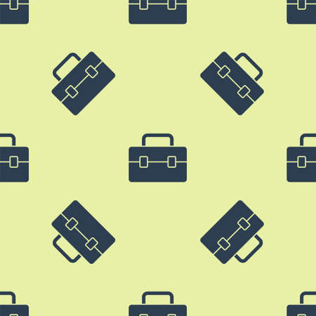 Blue Toolbox icon isolated seamless pattern on yellow background. Tool box sign. Vector Illustration