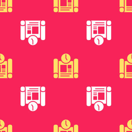 Yellow Business project time plan icon isolated seamless pattern on red background. Vector