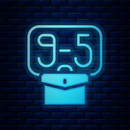 Glowing neon From 9:00 to 5:00 job icon isolated on brick wall background. Concept meaning work time schedule daily routine classic traditional employment. Vector Illustration