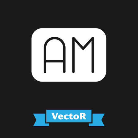 White Morning time icon isolated on black background. Time symbol. Vector Illustration