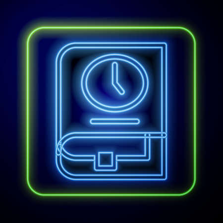 Glowing neon Time for book icon isolated on blue background. Vector