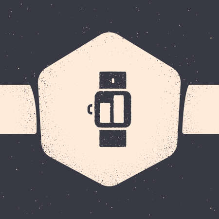Grunge Smartwatch icon isolated on grey background. Monochrome vintage drawing. Vector Illustration