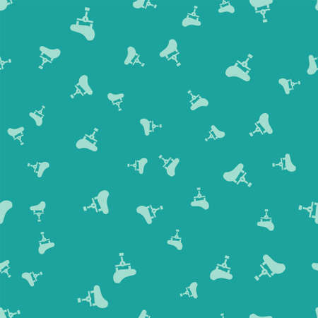 Green Bicycle seat icon isolated seamless pattern on green background. Bicycle saddle. Vector