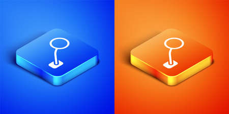 Isometric Bicycle rear view mirror icon isolated on blue and orange background. Square button. Vector