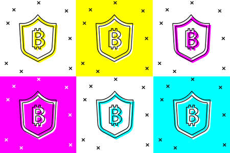 Set Shield with bitcoin icon isolated on color background. Cryptocurrency mining, blockchain technology, security, protect, digital money. Vector