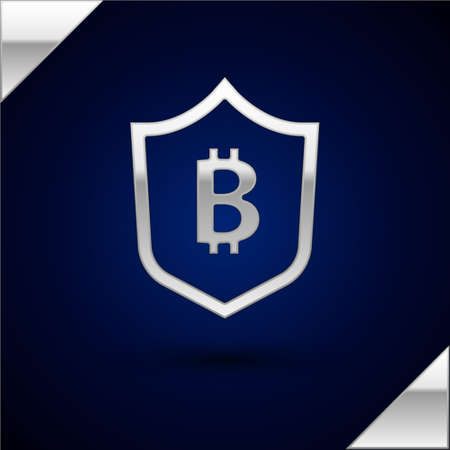 Silver Shield with bitcoin icon isolated on dark blue background. Cryptocurrency mining, blockchain technology, security, protect, digital money. Vector Illustration