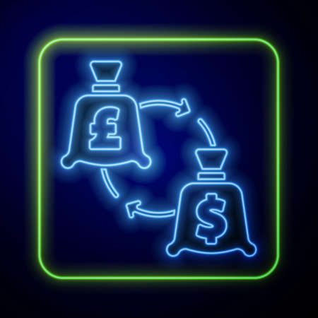Glowing neon Currency exchange icon isolated on blue background. Euro and Dollar cash transfer symbol. Banking currency sign. Vector Illustration