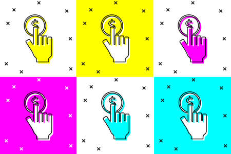 Set Hand holding coin icon isolated on color background. Dollar or USD symbol. Cash Banking currency sign. Vector Illustration