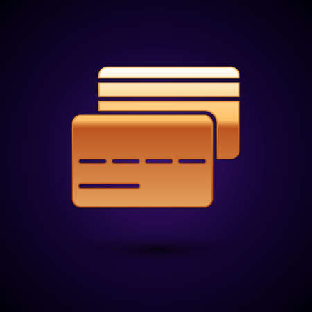 Gold Credit card icon isolated on black background. Online payment. Cash withdrawal. Financial operations. Shopping sign. Vector Illustration