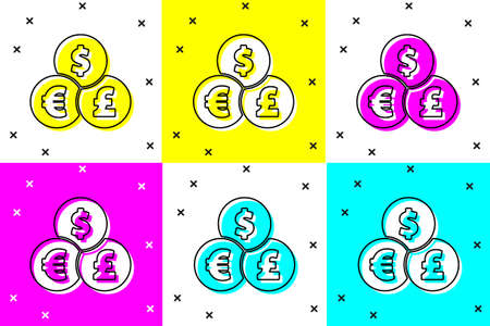 Set Currency exchange icon isolated on color background. Cash transfer symbol. Banking currency sign. Vector Illustration