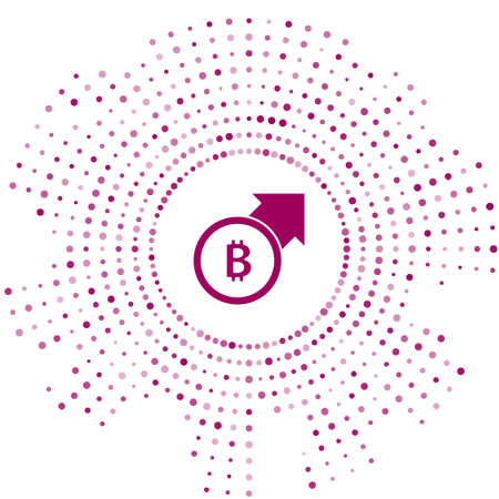 Purple Financial growth and bitcoin coin icon isolated on white background. Increasing revenue. Abstract circle random dots. Vector