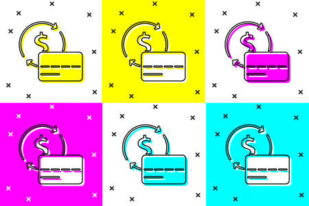Set Credit card icon isolated on color background. Online payment. Cash withdrawal. Financial operations. Shopping sign. Vector