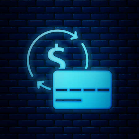 Glowing neon Credit card icon isolated on brick wall background. Online payment. Cash withdrawal. Financial operations. Shopping sign. Vector