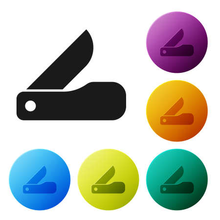 Black Multifunction knife icon isolated on white background. Multi-tool, multipurpose penknife. Multifunctional tool. Set icons in color circle buttons. Vector
