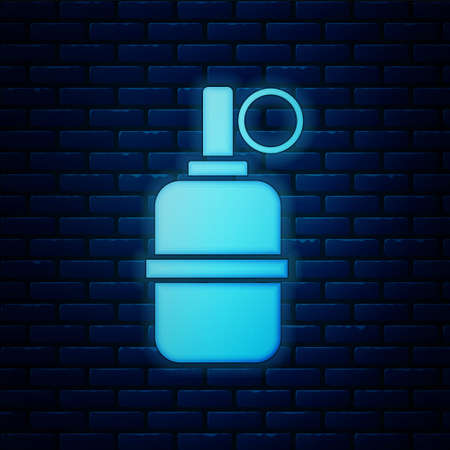 Glowing neon Hand grenade icon isolated on brick wall background. Bomb explosion. Vector Illustration