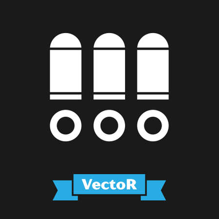 White Bullet icon isolated on black background. Vector Illustration