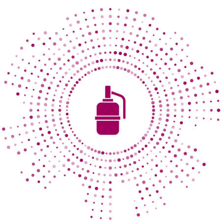 Purple Hand grenade icon isolated on white background. Bomb explosion. Abstract circle random dots. Vector Illustration