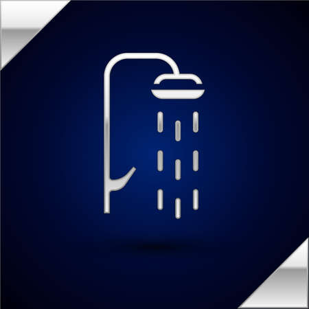 Silver Shower head with water drops flowing icon isolated on dark blue background. Vector