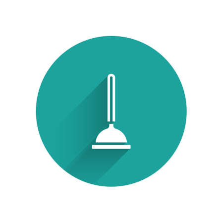 White Rubber plunger with wooden handle for pipe cleaning icon isolated with long shadow. Toilet plunger. Green circle button. Vector