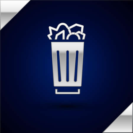 Silver Full trash can icon isolated on dark blue background. Garbage bin sign. Recycle basket icon. Office trash icon. Vector Illustration