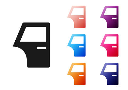 Black Car door icon isolated on white background. Set icons colorful. Vector Vettoriali