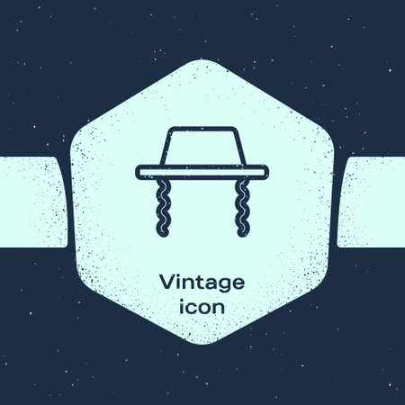 Grunge line Orthodox jewish hat with sidelocks icon isolated on blue background. Jewish men in the traditional clothing. Judaism symbols. Monochrome vintage drawing. Vector Vektorové ilustrace