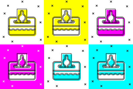 Set Donate or pay your zakat as muslim obligatory icon isolated on color background. Muslim charity or alms in ramadan kareem before eid al-fir. Vector