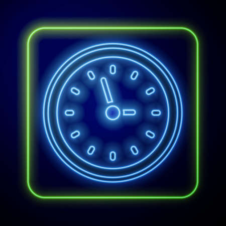 Glowing neon Clock icon isolated on blue background. Time symbol. Vector