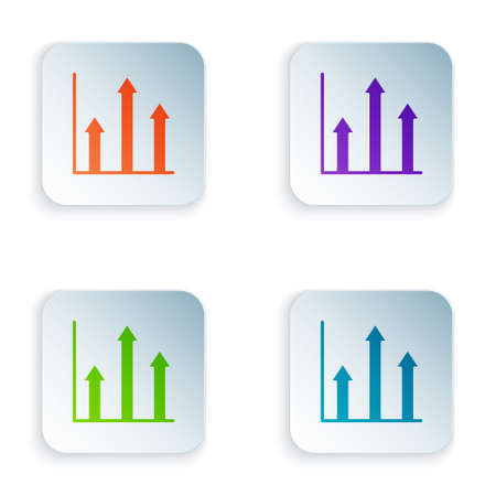 Color Graph chart infographic icon isolated on white background. Diagram chart sign. Set colorful icons in square buttons. Vector