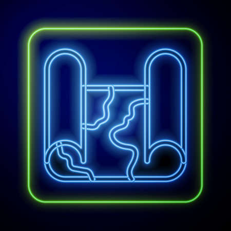 Glowing neon Folded map icon isolated on blue background. Vector