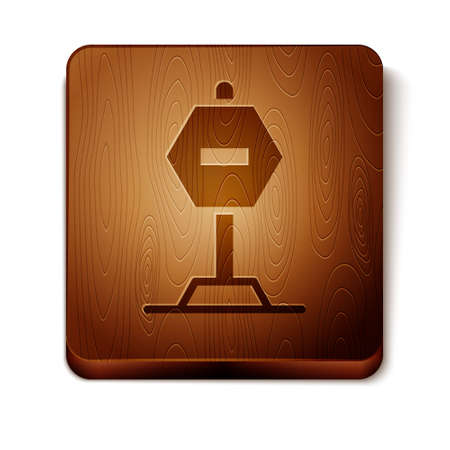 Brown Stop sign icon isolated on white background. Traffic regulatory warning stop symbol. Wooden square button. Vector Illustration