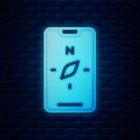 Glowing neon Compass screen apps on smartphone for navigation icon isolated on brick wall background. Application compass for navigation, app map. Vector Illustration