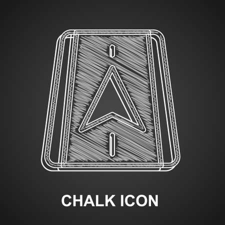 Chalk Infographic of city map navigation icon isolated on black background. Mobile App Interface concept design. Geolocation concept. Vector Illustration